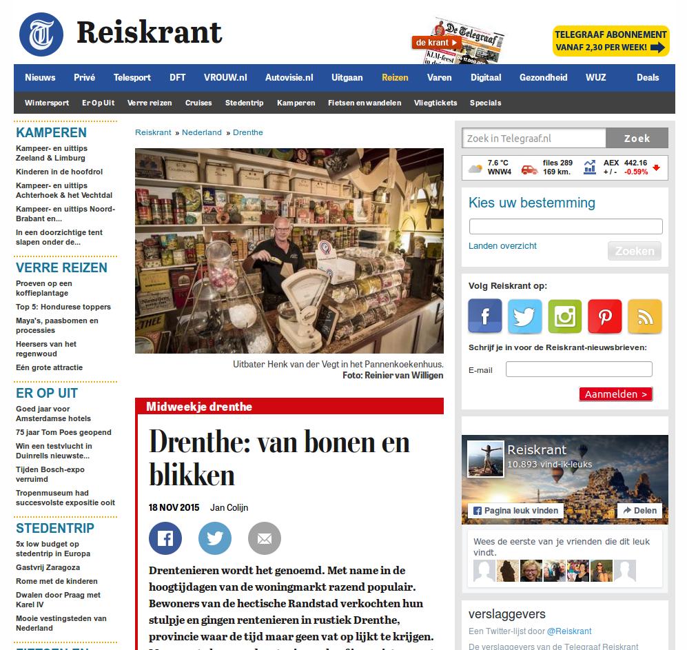 Artikel over het Nationaal Blikkenmuseum in de Telegraaf. Klik er op voor het volledige bericht.
